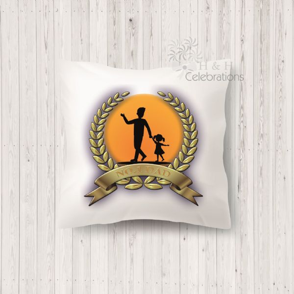 No 1 Dad And Daughter Laurel Silhouette Personalised Cushion